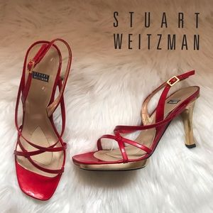 Authentic STUART WEITZMAN Red Patent Leather Heels
